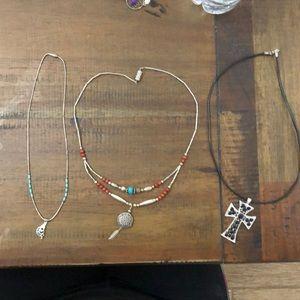 Lot of 3 necklaces cross, kokopelli,dream catcher